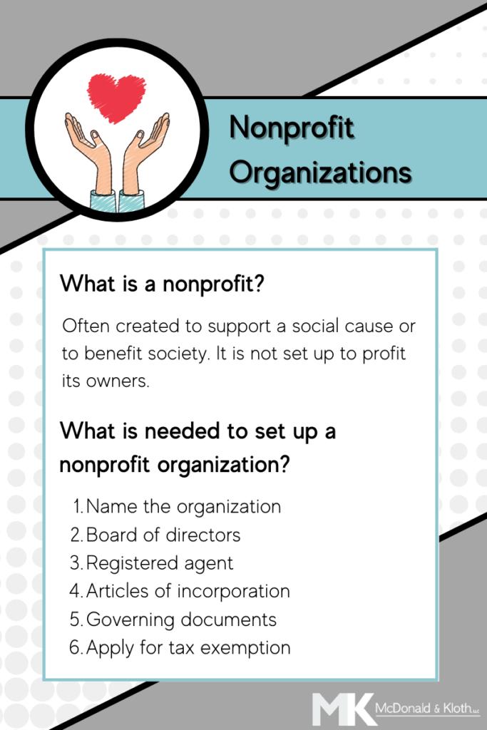 McDonald & Kloth, LLC can help individuals set up their nonprofit organization