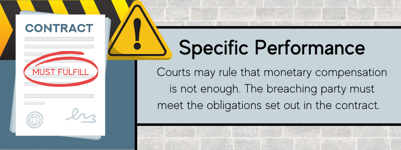 Specific performance is one remedy for a breach of a contract.
